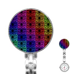 Rainbow Grid Form Abstract Stainless Steel Nurses Watch