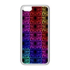 Rainbow Grid Form Abstract Apple iPhone 5C Seamless Case (White)
