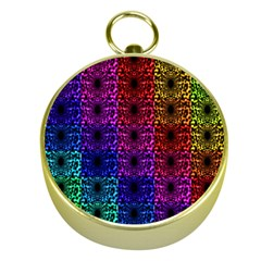 Rainbow Grid Form Abstract Gold Compasses