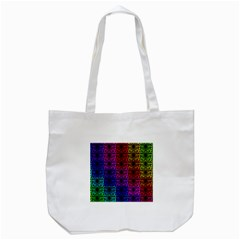 Rainbow Grid Form Abstract Tote Bag (White)