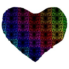 Rainbow Grid Form Abstract Large 19  Premium Flano Heart Shape Cushions