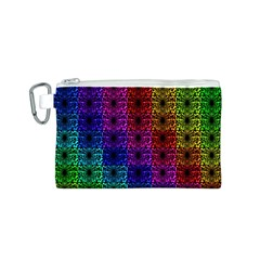 Rainbow Grid Form Abstract Canvas Cosmetic Bag (S)