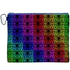Rainbow Grid Form Abstract Canvas Cosmetic Bag (XXXL)