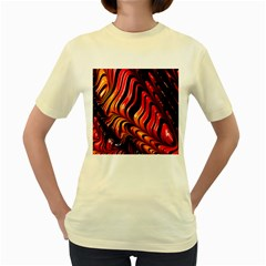 Fractal Mathematics Abstract Women s Yellow T-Shirt