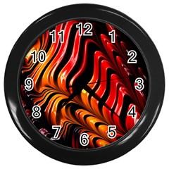 Fractal Mathematics Abstract Wall Clocks (black)