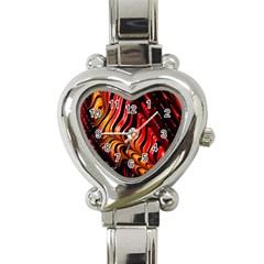 Fractal Mathematics Abstract Heart Italian Charm Watch