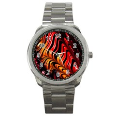 Fractal Mathematics Abstract Sport Metal Watch