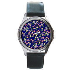 Flowers Roses Floral Flowery Blue Background Round Metal Watch