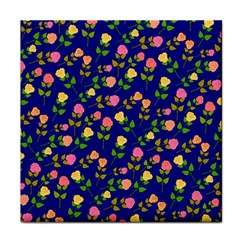 Flowers Roses Floral Flowery Blue Background Tile Coasters