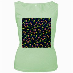 Flowers Roses Floral Flowery Blue Background Women s Green Tank Top