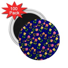 Flowers Roses Floral Flowery Blue Background 2 25  Magnets (100 Pack)