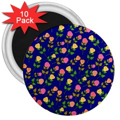 Flowers Roses Floral Flowery Blue Background 3  Magnets (10 Pack)