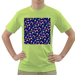 Flowers Roses Floral Flowery Blue Background Green T-Shirt