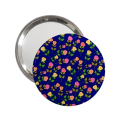 Flowers Roses Floral Flowery Blue Background 2 25  Handbag Mirrors