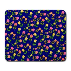 Flowers Roses Floral Flowery Blue Background Large Mousepads