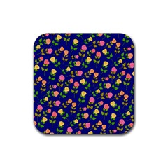 Flowers Roses Floral Flowery Blue Background Rubber Coaster (square)