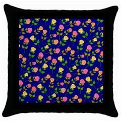 Flowers Roses Floral Flowery Blue Background Throw Pillow Case (Black)