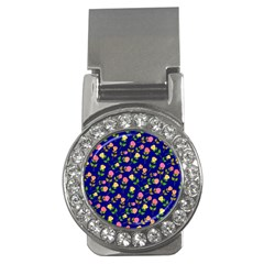 Flowers Roses Floral Flowery Blue Background Money Clips (cz)