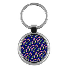 Flowers Roses Floral Flowery Blue Background Key Chains (Round)