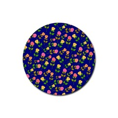 Flowers Roses Floral Flowery Blue Background Rubber Coaster (Round)