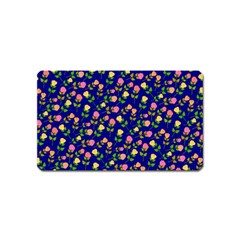 Flowers Roses Floral Flowery Blue Background Magnet (Name Card)