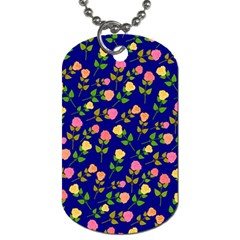 Flowers Roses Floral Flowery Blue Background Dog Tag (one Side)