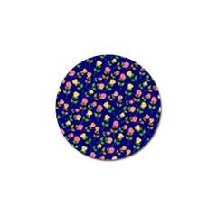 Flowers Roses Floral Flowery Blue Background Golf Ball Marker (4 Pack)
