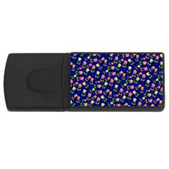 Flowers Roses Floral Flowery Blue Background USB Flash Drive Rectangular (2 GB)