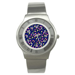 Flowers Roses Floral Flowery Blue Background Stainless Steel Watch