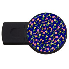 Flowers Roses Floral Flowery Blue Background USB Flash Drive Round (4 GB)