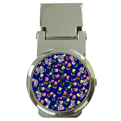 Flowers Roses Floral Flowery Blue Background Money Clip Watches