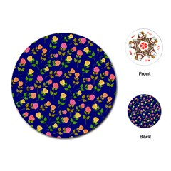 Flowers Roses Floral Flowery Blue Background Playing Cards (Round)