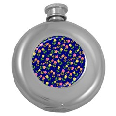 Flowers Roses Floral Flowery Blue Background Round Hip Flask (5 oz)
