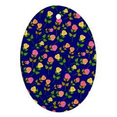 Flowers Roses Floral Flowery Blue Background Oval Ornament (Two Sides)
