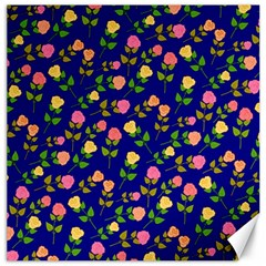 Flowers Roses Floral Flowery Blue Background Canvas 12  x 12