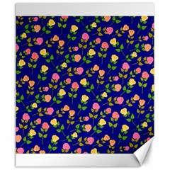 Flowers Roses Floral Flowery Blue Background Canvas 20  X 24