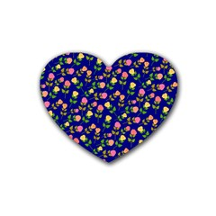 Flowers Roses Floral Flowery Blue Background Rubber Coaster (Heart)