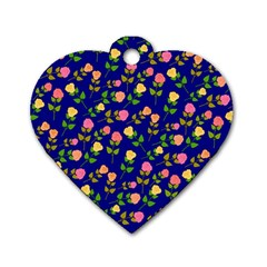Flowers Roses Floral Flowery Blue Background Dog Tag Heart (one Side)