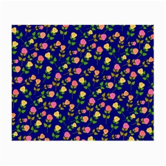 Flowers Roses Floral Flowery Blue Background Small Glasses Cloth (2 Side)