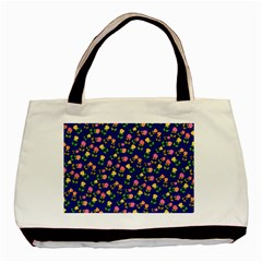 Flowers Roses Floral Flowery Blue Background Basic Tote Bag (two Sides)
