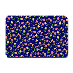 Flowers Roses Floral Flowery Blue Background Small Doormat