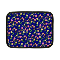 Flowers Roses Floral Flowery Blue Background Netbook Case (Small)