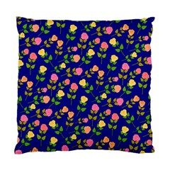 Flowers Roses Floral Flowery Blue Background Standard Cushion Case (One Side)