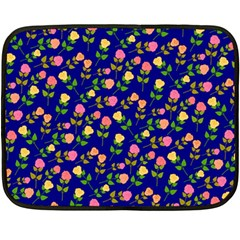 Flowers Roses Floral Flowery Blue Background Fleece Blanket (mini)