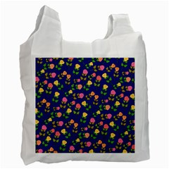Flowers Roses Floral Flowery Blue Background Recycle Bag (Two Side)