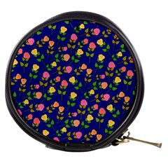 Flowers Roses Floral Flowery Blue Background Mini Makeup Bags