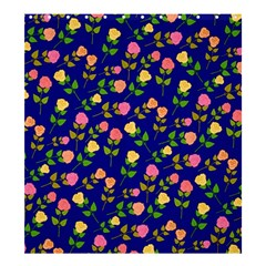 Flowers Roses Floral Flowery Blue Background Shower Curtain 66  x 72  (Large)