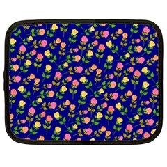 Flowers Roses Floral Flowery Blue Background Netbook Case (XXL)