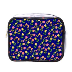 Flowers Roses Floral Flowery Blue Background Mini Toiletries Bags