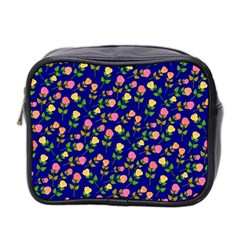 Flowers Roses Floral Flowery Blue Background Mini Toiletries Bag 2 Side